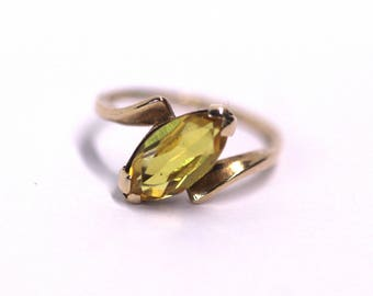 Vintage Estate Jewelry - 10k Yellow Gold Marquise Cut Citrine Ring - Size 6