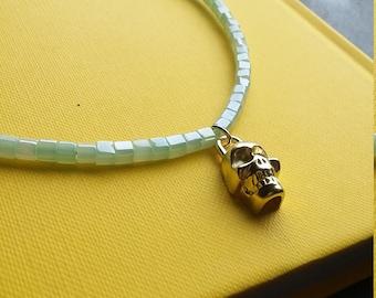 Skull Pendant Choker and Bracelet