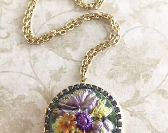 Vintage Locket, Vintage Style, Handmade Jewelry, Flower Locket