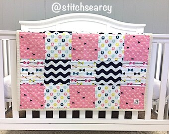 READY TO SHIP;  Baby Girl Quilt; Crib Bedding; Toddler Bedding; Baby Bedding;  Derby;  Horses;  Pink;  Navy Blue;  Handmade