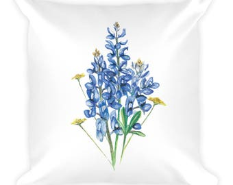 Bluebonnets and Wildflowers Square Pillow
