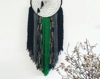 Large dream catcher, bohemian decor, wall tapestry in black and green, bohemian hanging, modern dream catcher, yarn wall hanging