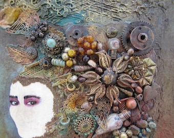 Mixed Media Art 3D Assemblage Face Art Vintage Lace Wall Art Vintage Jewelry Gift For Women
