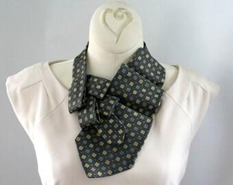 Necktie Necklace - Womens Necktie - Office Wear - Gift For Mom - Upcycled Neckties - Memorial Gift - Slate Grey Necktie. 17