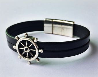Black 2-Strand Nautical Leather Bracelet with Silver Magnetic Clasp