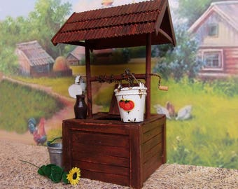 Draw-well. Miniature  for garden Dollhouse Landscape. Dollhouse. 1:12 Scale