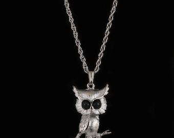 Silver Owl Pendant, Darn cute! Big black eyes, slightly skinny and cartoon like, Textured silver metal, lots of detail