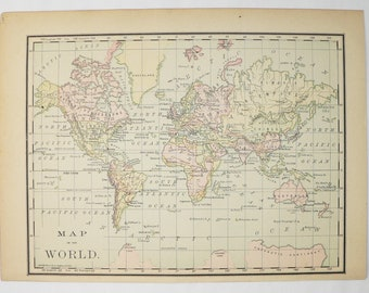 Vintage world map etsy 1887 vintage map of the world antique world map small map of world gumiabroncs Image collections