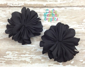 """ON SALE Set of 2 Mini Black Shimmer Satin Scallop Flowers 2"""" - Ballerina, Petal, Supplies, Baby Headbands, Infant Headbands, Baby and Toddle"""