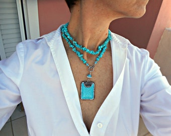 Long turquoise necklace, Semi precious stone jewelry, Turquoise pendant necklace for women, Real turquoise jewelry, Turquoise bead necklace