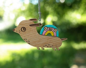 Flying Wiener Dog with Rainbow - wooden pendant