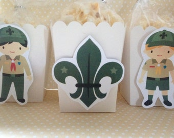 Boy Scouts Party Popcorn or Favor Boxes - Set of 10