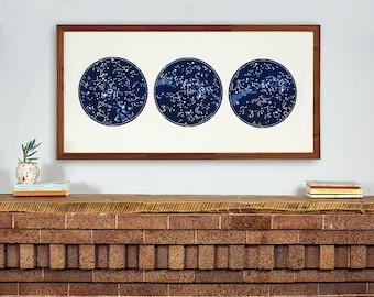 Constellation Print Celestial Map, Star Chart poster, Northern Hemisphere, Large Horizontal Art Print, Large Constellation Art, Southern
