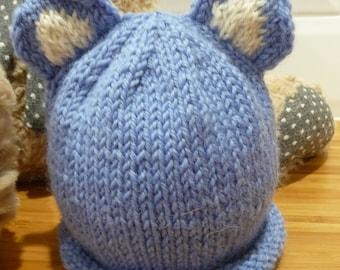 Baby Blue Bear Ear Hat - 1838