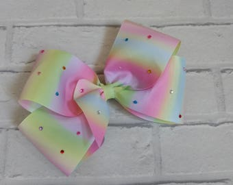 "Large 8"" Rainbow Boutique Hair Bow with Rhinestones like JoJo Bows Dance Moms JoJo Siwa"