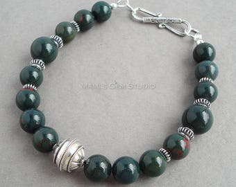 Mens Bloodstone Bracelet with Bali Sterling Silver, Green Gemstone Beaded Jewelry for Men, Guys, Dad, Him, Handmade
