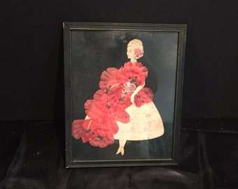 Vintage Framed Paper Doll with Ribbon Dress