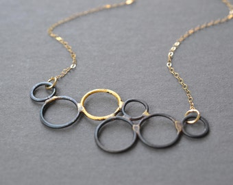 Steel & Gold Bubble Necklace- blackened steel pendant necklace, steel bubble necklace, circles necklace, 11th anniversary gift