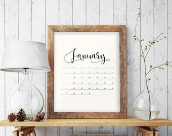 Printable Minimalist Calendar, Monthly Planner 2018, 2018 Calendar, Printable Calendar, Calendar 2018, DIY Planner, Monthly Calendar, BD7024