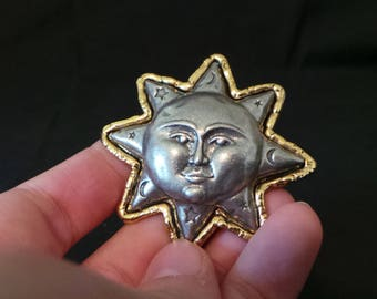 Vintage Signed JJ Gold And Silver Sun Moon And Stars Man In The Moon Brooch Pin