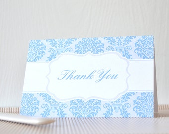 Simply Damask Thank You Card: ty, wedding, vintage, pattern- LRD011TY