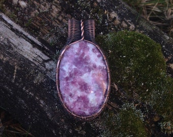 Copper Wire Wrapped Lepidolite Pendant for Anxiety Relief and Rest