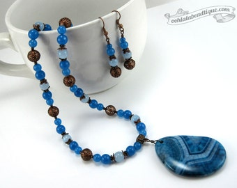 Copper Blue Jewelry Set birthstone necklace earrings set blue agate necklace blue necklace earrings agate jewelry holiday gift for her