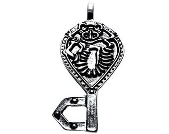 Troll key chain pendant silver plated, optionally with band Kobold key fob Viking Medallion Amulet