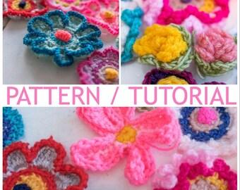USA/ UK crochet pattern 6 different flowers