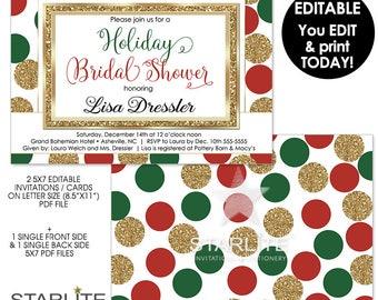 Holiday Bridal Shower Invitation, EDITABLE Holiday Bridal Shower Invitation, INSTANT DOWNLOAD, Bridal Shower Invite Pdf DiY Printable