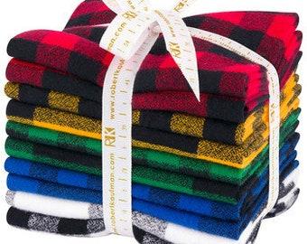 Mammoth Flannel Fat Quarter Bundle, Buffalo Check, Robert Kaufman, Buffalo Plaid, Cotton Flannel, Quilt Fabric, Christmas Decor, 10 pcs