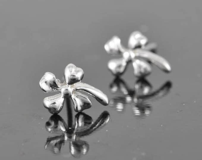 four leaf clover earring, sterling silver earring, stud earrings, eco friendly recycled silver, flower earring,
