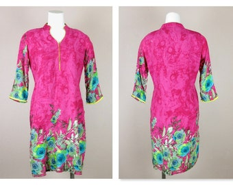 Vintage Cotton / Silk Blend Asian Inspired Dress / Tunic / Beach Cover Up / House Dress, Fuchsia Pink Floral,  Medium Size