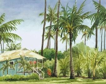 Tropical Cottage Kauai art print : Hawaii palm trees watercolor artwork, Hawaiian painting, Waimea Plantation Cottages blue house art