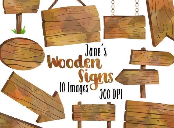 watercolor wooden signs clipart wooden borders download rh etsy com wood arrow sign clipart wood signboard clipart