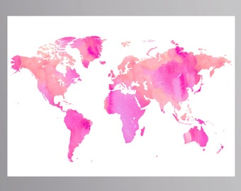 pink world map pink map girls room decor baby girl nursery watercolor map world map nursery world map wall art world map printable pink map