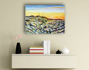 """Sutro Tower Sunrise at San Francisco California Painting by marinelaArt - Acrylic Fine Art on 16"""" x 12"""" Large Canvas Paintings"""