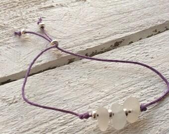 Waxed Cord Sterling Silver Sea Glass Bracelet, adjustable bracelet