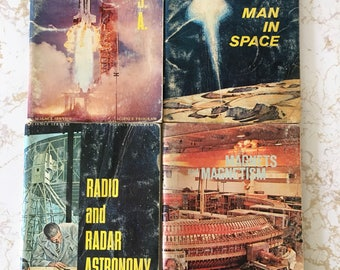 Vintage Space Books, Science Service Book Set, Retro Space