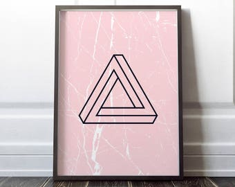 Penrose Triangle Impossible Geometry Pink White marble print decor printable wall art poster digital download instant printable 16x20 A4