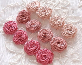 12 Small Handmade Ribbon Roses (7/8 to 1 inch) In Moonstone,Sweet Nectar, Colonial Rose MY- 388-04 Ready To Ship
