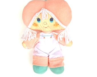 Apricot Rag Doll | Vintage 1980s Strawberry Shortcake Apricot Cloth Doll | Kenner Strawberry Shortcake Soft Doll | American Greetings