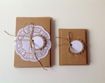Blank Kraft cardstock cards with envelopes, 2 sizes, set of 10 cards and 10 envelopes,gift pack, Kraft paper