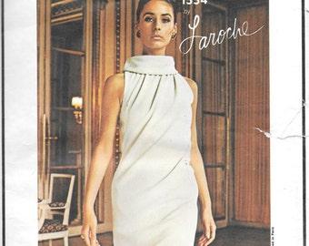 """Vintage 1960s Vogue Paris Original Pattern 1554- Laroche Misses' Evening Dress  size 14 bust 34"""" hip 36"""""""