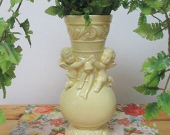 Vintage Pale Butter Yellow Cherub Vase