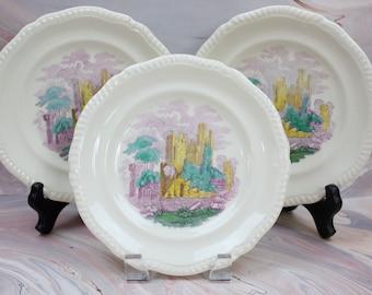 English Transferware Plates, Set of 3, Dessert Plates, Yellow, Purple & Green Polychrome, Copeland Spode, Late 1800s, Vintage China Plates