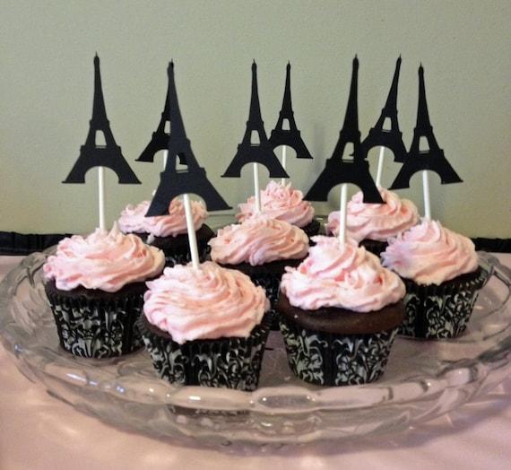 12 Eiffel Tower Cupcake Toppers Paris Birthday Party Paris