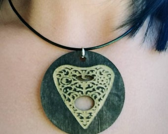 Wood Laser Engraved Ouija Planchette Necklace
