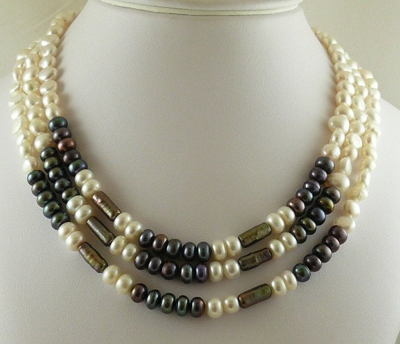 """Freshwater Multicolor Pearls Triple Strand Necklace and Goldfilled Clasp 17 1/4"""""""