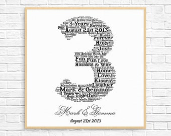 PERSONALIZED 3rd ANNIVERSARY Gift ~ Word Art ~ Printable Art ~ Unique Anniversary gift ~ 3 Year Wedding Anniversary ~ Unique Gift